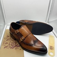 ANAX Brown Men Shoes with Double Side Buckless