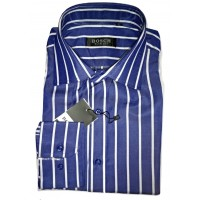 BOSCH Blue-White Stripes Slim Fit Long Sleeve Men Shirt