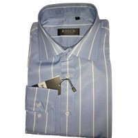 BOSCH Light Blue with White Stripes Slim Fit Men Shirt
