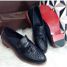Gucci Classic Black Draft Face with Tasel Men's Shoes
