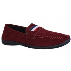 Dutch Suede Leather Loafers - Wine Red