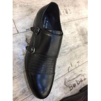 Double Monk Strap Black Men Shoes