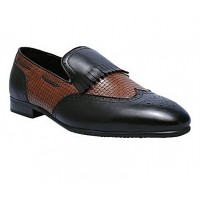 Fringe Leather Loafers With Rope Design - Black_Brown