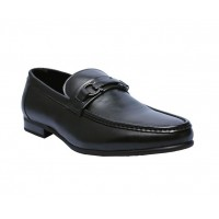 Front Chain Leather Loafers - Black