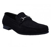 Front Chain Suede Loafers - Black