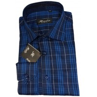 HALA Dark Blue Mix Slim Fit Long Sleeve Men Shirt