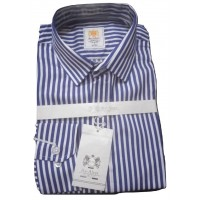 High Rated Blue-White Bold Stripes Office Slim Fit Men Shirt