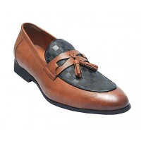 Masked Leather Loafers Men Shoes With Tassel - Brown_Black