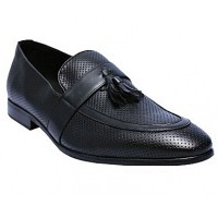 Matured Leather Loafers Tassel - Black