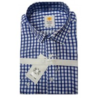 RIO ALVES  BLUE-WHITE STRIPES CHECKERS MEN SHIRT