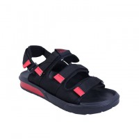 Smart Fuce Velcro Unisex Sandals - Black wt Red