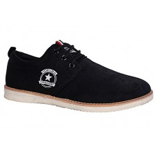Suede Casual Shoe With Lace-Up - Black
