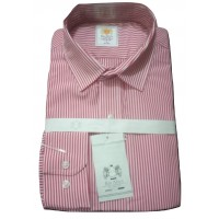 Top Rated Red-White Tiny Stripes Office Slim Fit Men Shirt